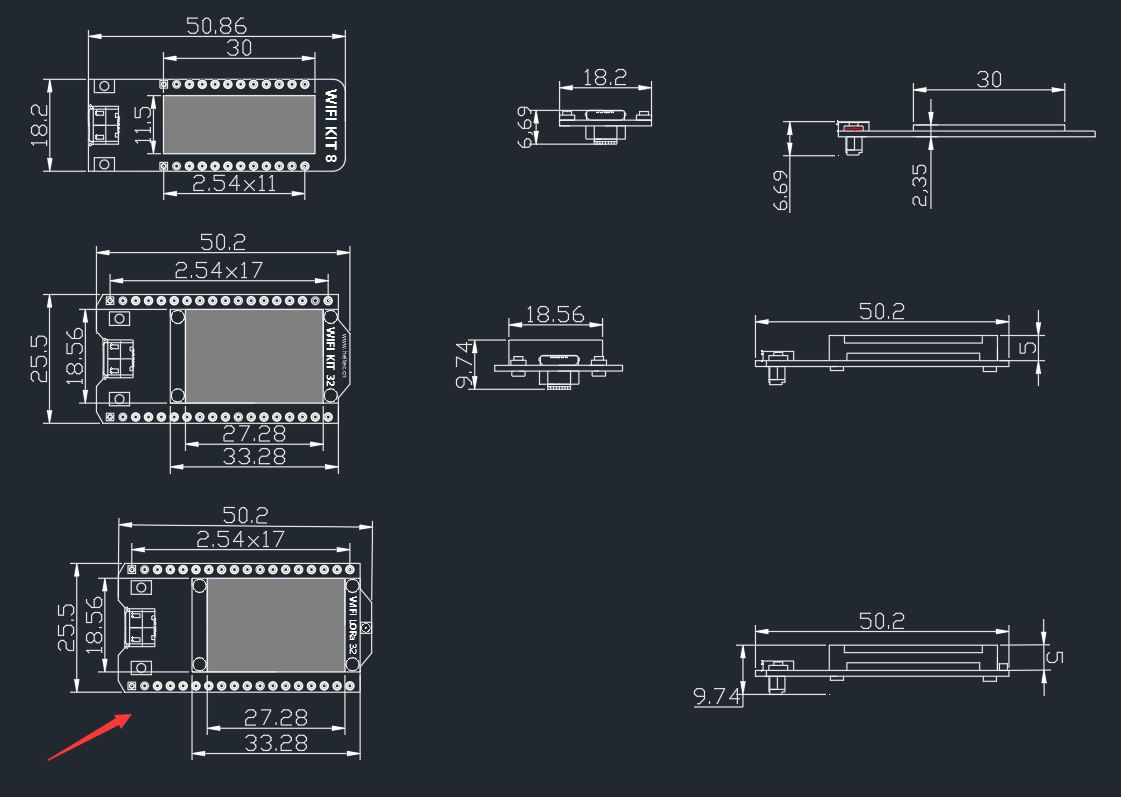 CAD and Eagle drawings for WiFi LoRa 32 (V2) - LoRa Node